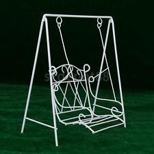 Doll House Miniature White Wire Outdoor Yard Patio Garden Bench Swing 12th