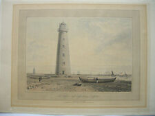 Great Britain Oxford Ness LIGHT houses Suffolk coloured lithography Daniell 1815