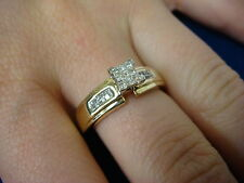 14K YELLOW GOLD DIAMOND ENGAGEMENT RING, INVISIBLE SET, PRINCESS CUT DIAMONDS