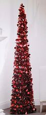 RED 5 FT POP UP TINSEL TREE COLLAPSIBLE CHRISTMAS PARTY VALENTINES DECORATION