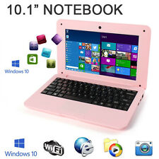 "New 10"" Windows 10 Win Pink Mini PC Notebook Netbook Laptop WIFI Computer Kids"