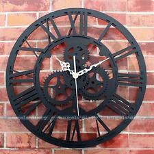 Large Vintage Gear Wall Clock Mute Clock Handmade Rustic Art Home Antique Decor