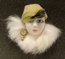LADY HEAD Woman FACE Porcelain-Look Resin brooch pin Figural Artisan White Fur