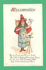 VINTAGE HALLOWEEN POSTCARD GIRL WITCH MOON STARS DRESS OWL LAMP FORTUNE IN CARDS