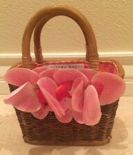 GRETCHEN SCOTT Pink Orchid Wicker Basket purse Bag Tote Flowers Gingam Lined