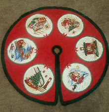 Quilted Christmas Tree Skirt Size 34 inch Red with Picture Circles & Green Trim
