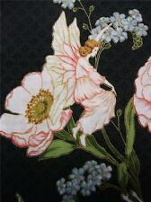 """Hoffman Fairy Briar with Flowers Black Gold Fabric 48"""" REMNANT"""