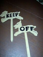 Vintage Decorator KEEP OFF signs made in manual training class