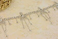 Sequin Pendant Crystal Applique Trim Dangle Flower Rhinestone Wedding Motif Trim