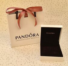 GENUINE PANDORA BRACELET BOX BLACK VELVET LINED WITH PILLOW & GIFT BAG & RIBBON