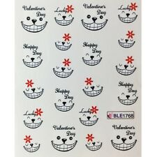 Nail Art Stickers Water Decals Decoration Valentines Love Smiley Face 1768