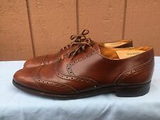 Mens Cole Haan Bench Made In England Brown Leather Cap-toe Oxford Shoes US SZ 12