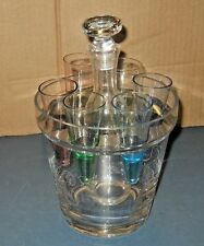 GLASS BARWARE SET DECANTER ICE BUCKET & 6 MULTI-COLORED CONE SHOT GLASSES