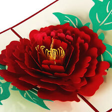 3D Pop Up Cards Peony Birthday Valetine Mother's Day Thank You Christmas US9