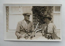 c1930 B/W Photograph. Middle-Aged Man & Woman. Clothing/ Style Shot. Baby Rattle