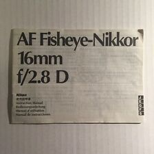 Nikon AF Fisheye-Nikkor 16mm f/2.8D Lens - Genuine Instruction Manual