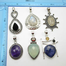 * Free Shipping * Wholesale * 925 Silver Plated 6 Pcs New HANDCRAFTED Pendants