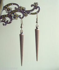 Antique Bronze Spike Long Dangly Drop Earrings ~ Vintage Boho