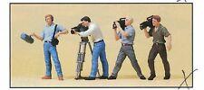 Troupe televisiva Preiser 10421 figure scala HO (16,5 mm) accessori conf. orig.