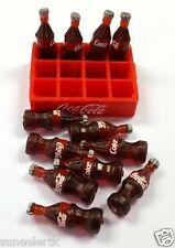 MINI 12 Bottles Coca Cola Coke and Tray Dollhouse Miniatures Food Supply Decor