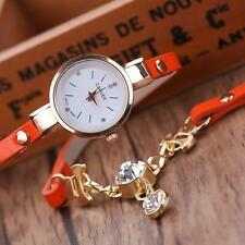 Fashion Women's Watch Bracelet Crystal Leather Analog Quartz Dress Wrist Watches