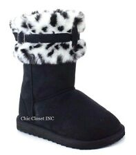 Women Faux Fur Shearling Leopard Collar Mid Calf Tall Snow Slip On Winter Boots