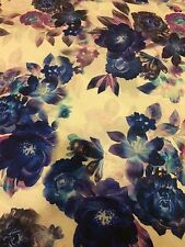 "Floral Rose Printed Jersey Lycra Stretch Dance Fabric 60"" Width Blue/Purple"