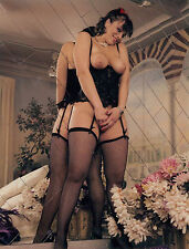 60s Voluptuous Nude Pinup black corset & fishnets at mirror  8 x 10 Photograph