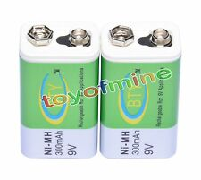 2 x Ni-MH 300mAh 9V Rechargeable PP3 Battery NEW