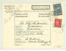 Finland M29 Postal Shipping card 1940 used from Ekenas to Ruosniemi
