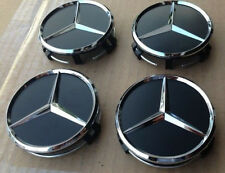 New 4x Black 75mm Center Hubcap Hub Cap Caps Wheel Cover for Mercedes Benz