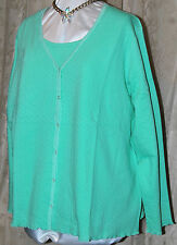 DENIM & CO QVC  SO PRETTY REVERSIBLE LETTUCE EDGE CARDIGAN & TANK SET GREEN 3X