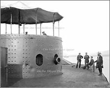 Photo: Rare View: USS Monitor, Officers & Turret, James River, July 9, 1862