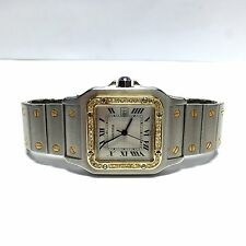 Large SANTOS DE CARTIER 2 Tone 18K Gold & SS Men's Watch w/ DIAMOND Bezel In Box