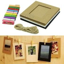 10Pcs 3Inch Paper Photo Flim DIY Wall Picture Hanging Frame Album+Rope+Clips Set