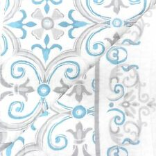 ARCHITECTURAL Scroll QUEEN QUILT SET Teal Blue Grey White COTTON Floral Border