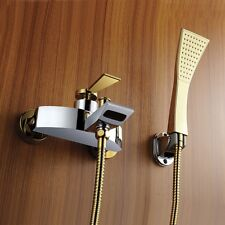Gold & Chrome Bathroom Tub Shower Faucet Bath Hot And Cold Water Tap Handshower