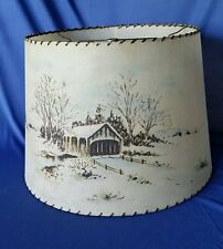 Fiberglass Lamp Shade Mid Century Whip Stitch Large w Covered Bridge Vintage