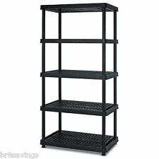Keter Poly Resin 5 Tier Shelf 36 x 24 x 72 Garage Storage Utility Rack Organizer