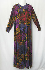 Alfred Shaheen Vintage 70s Colorful Long Artsy Sleeves Maxi Lounge Dress S/M
