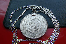 "Request Your Year! 1957-1967 Mexican Silver Peso Pendant on 30"" 925 Silver Chain"