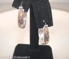 17.5mm Hawaiian 2-T STER Silver 14k Rose Gold Princess Round Hoop Earrings #2