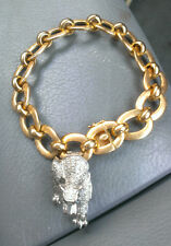 Heavy Two Tone 18kt Link Bracelet With 18kt Panther Charm or Pendant (41 grams)