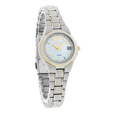 Seiko Solar Ladies MOP Two Tone Bracelet Dress Watch SUT058