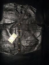 Hunter's Ridge MEN patch work design solid black genuine Leather vest size large