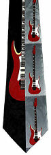 Red Electric Guitar Mens Necktie Music Instrument Musician Gift Neck Tie New