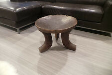 "ETHIOPIAN AFRICAN HAND CARVED WOODEN STOOL TABLE 15.5""H 20.5""DIA AUTHENTIC 3 LEG"
