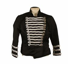 Military Marching Band Jacket Black and Silver Cropped Polished Cotton Small NWT