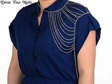 Body Chain Multi layers SILVER Coloured Costume Jewellery Over One Shoulder