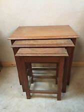"Solid Oak Nest of Three Tables Rectangular Top On Square Chamfered Legs 22""H"